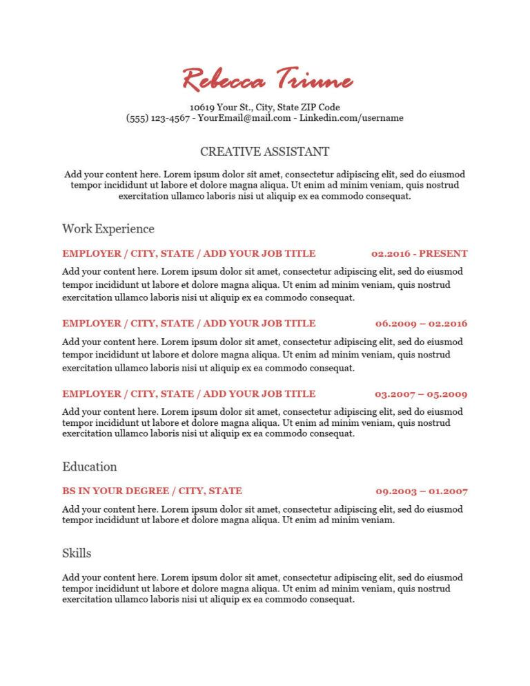 resume collections