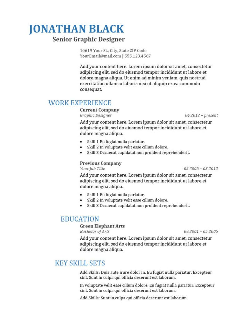 bold resume template