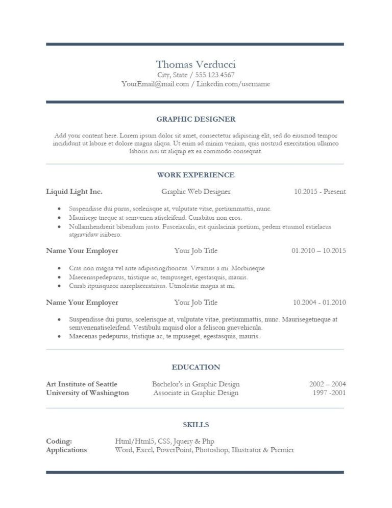 Central Design Resume Template