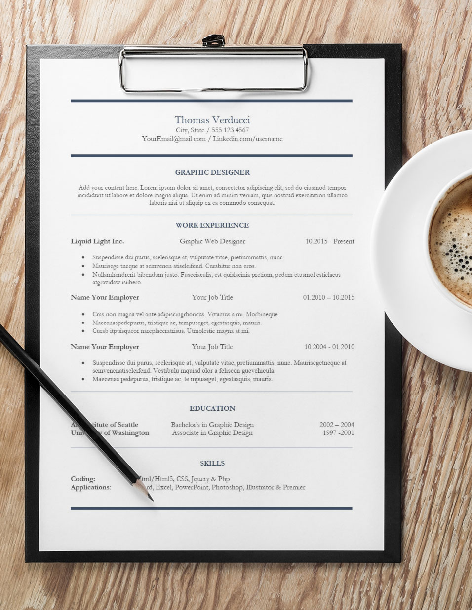 Central Design Resume with Coffee