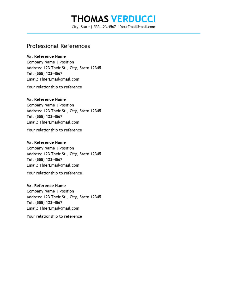 Executive Plus References Template