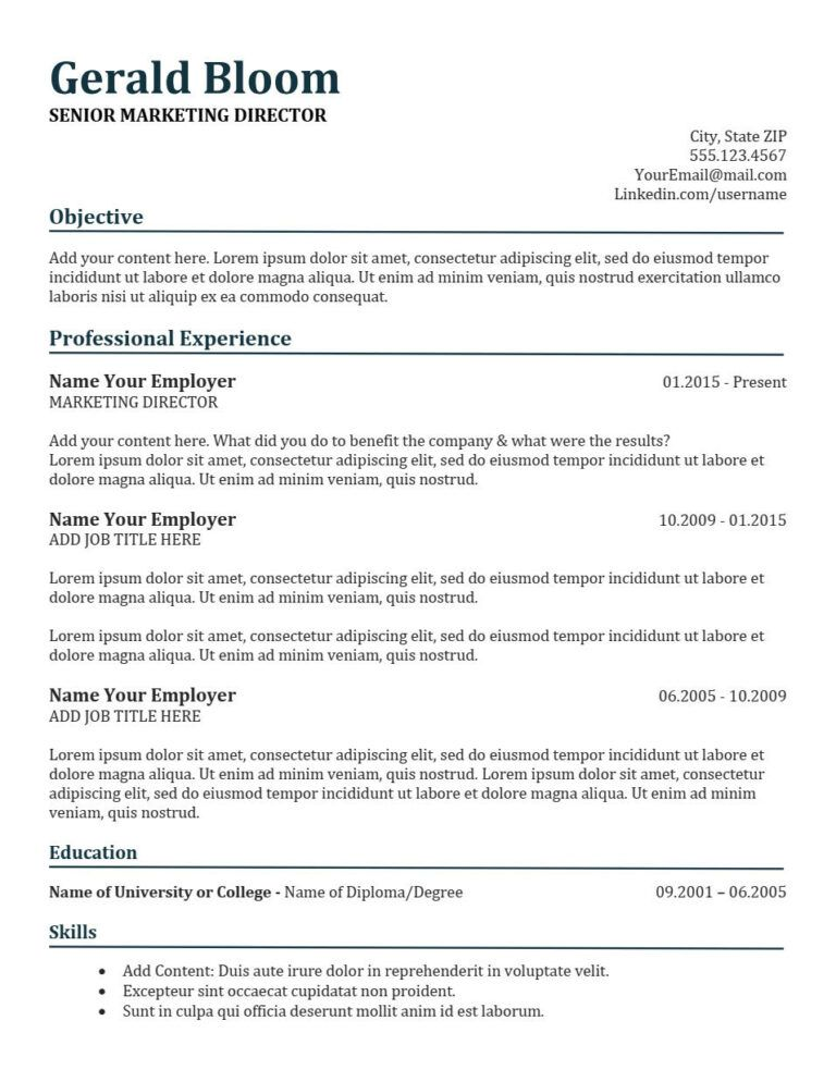 Glory Resume Template