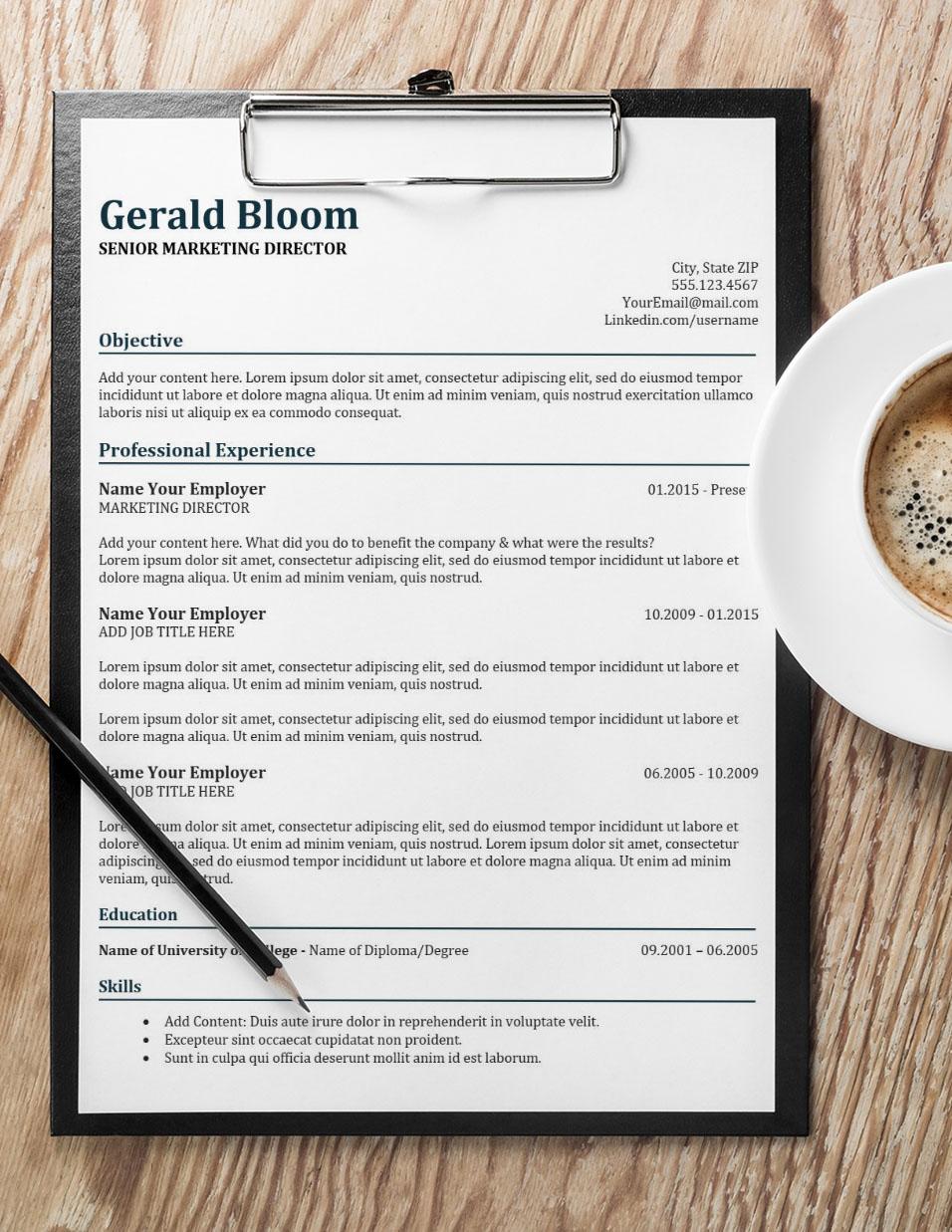 Glory Resume with Coffee