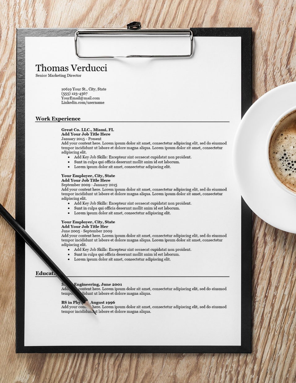Simply Skilled Resume with Coffee