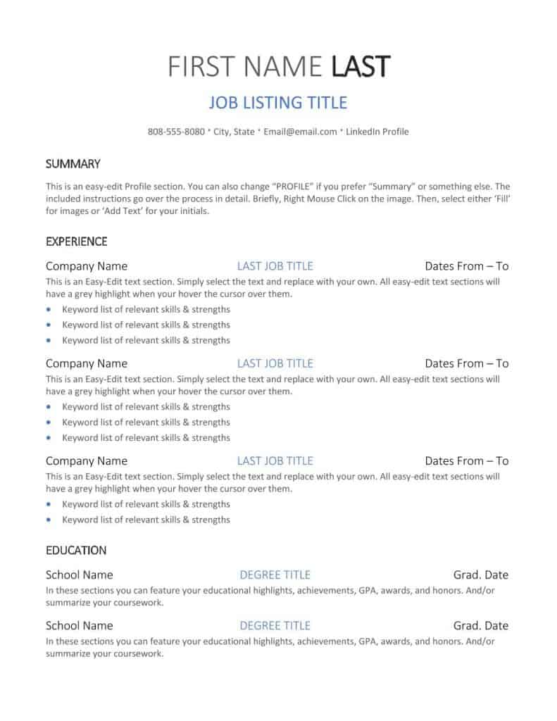 Free Classic Resume