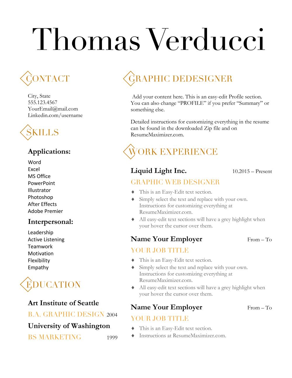 Diamond Resume Template