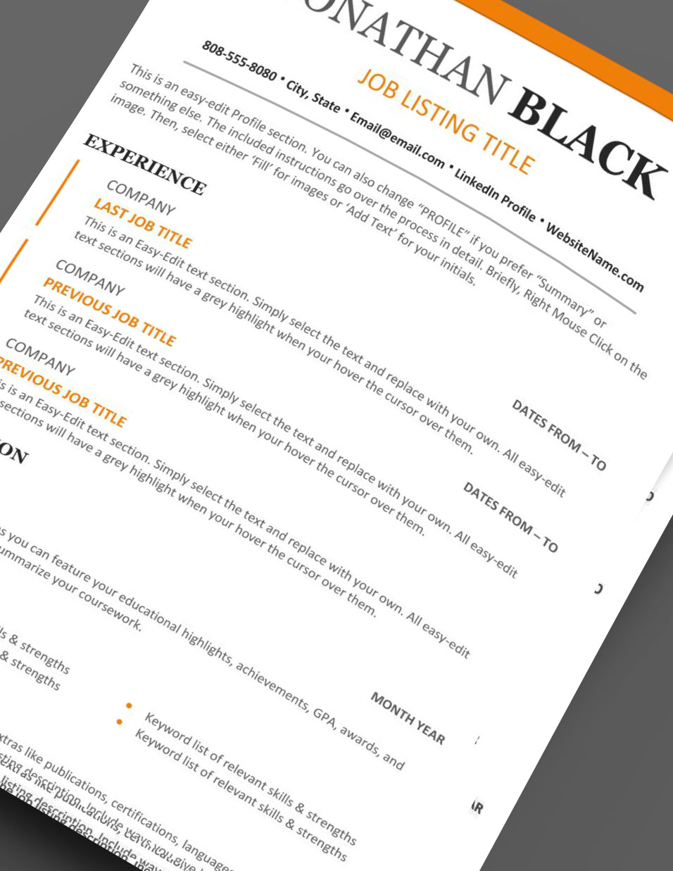 strong  u0026 clear resume template