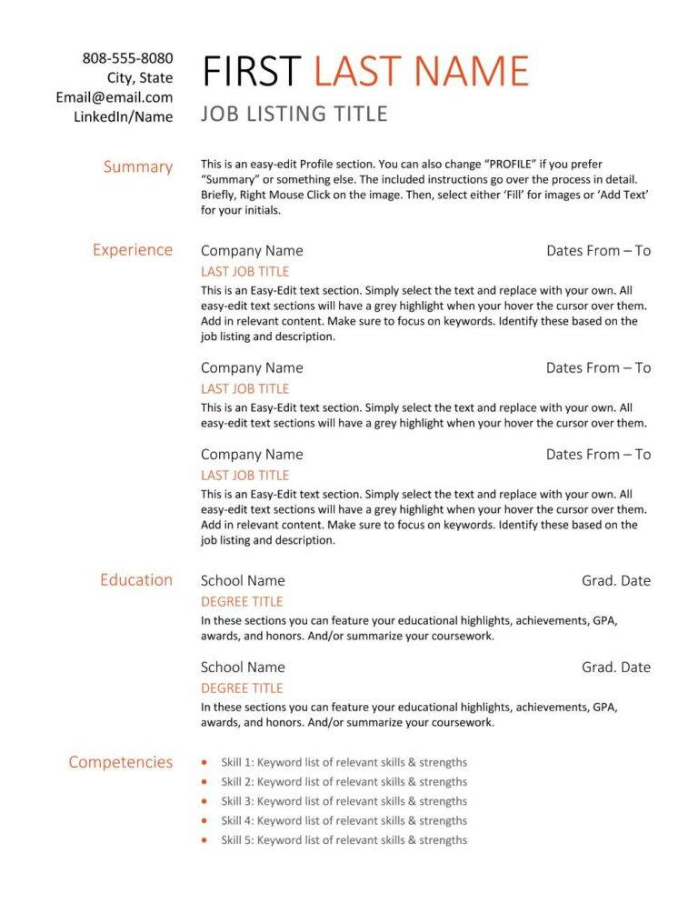 clean start resume template