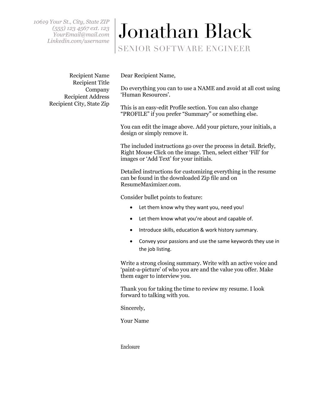 Awarded - Cover Letter