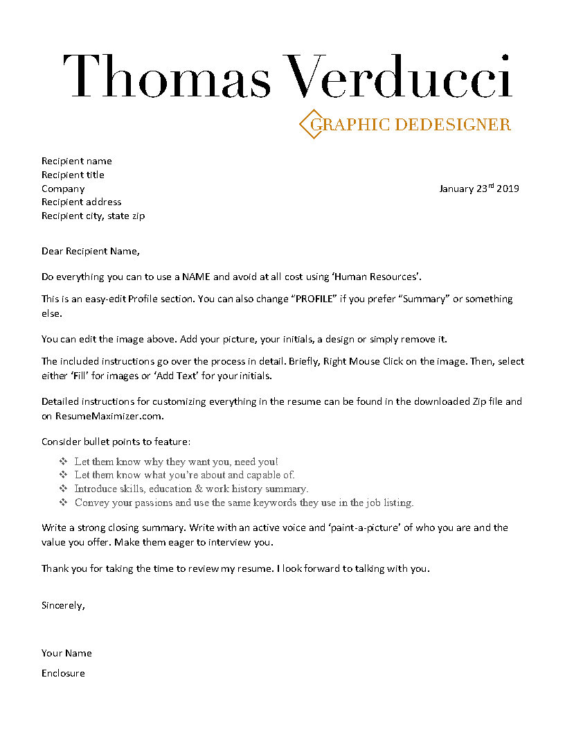 Diamond - Cover Letter