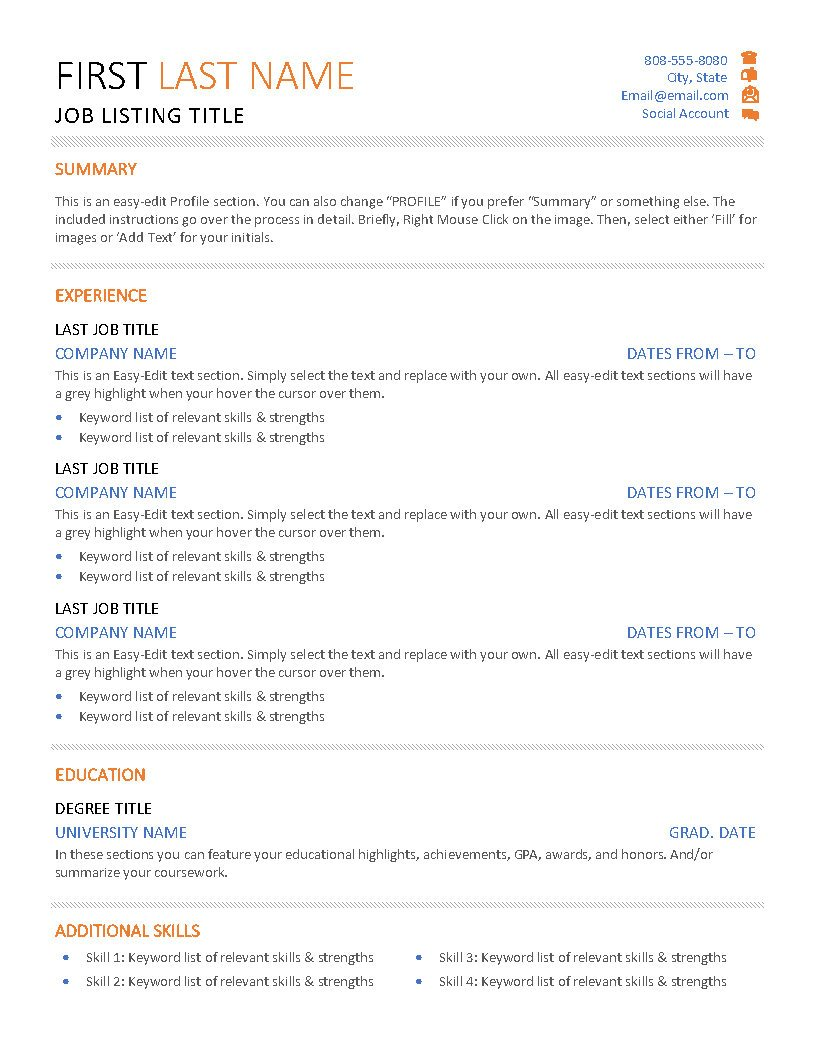 First & Last - Resume
