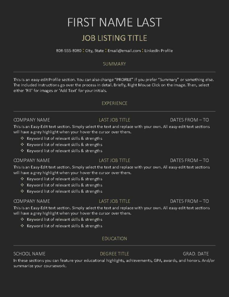 Simple Sectioned - Resume